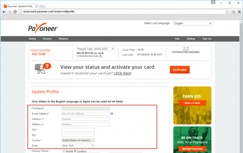 filling out your address when signing up to payoneer is important