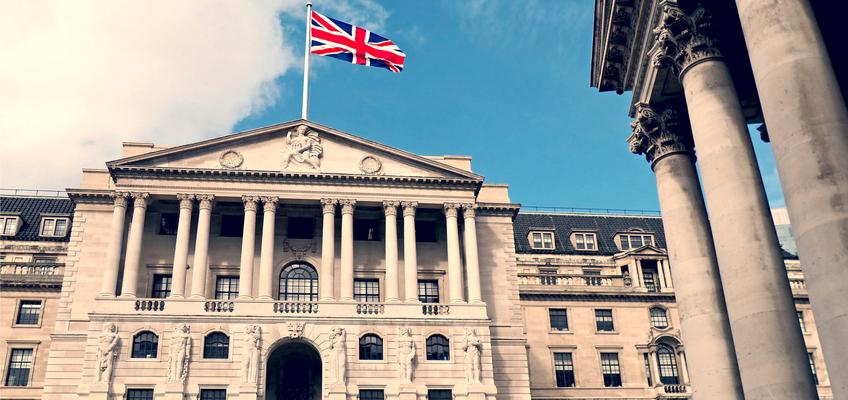 UK bank with UK flag flying above